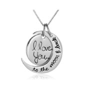 I Love You To the Moon and Back Silver Necklace Love Forever Moon Pendant Necklace